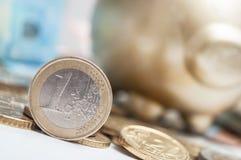 Euromynt och sedlar med guld- svinbakgrund Arkivbild