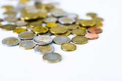 Euromynt, valuta för europeisk union royaltyfria foton