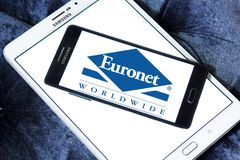 Euronet Worldwide financial services company logo. Logo of Euronet company on samsung mobile. Euronet Worldwide is a US provider of electronic payment services stock photos