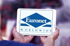 Euronet Worldwide financial services company logo. Logo of Euronet company on samsung tablet. Euronet Worldwide is a US provider of electronic payment services stock photo