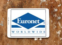 Euronet Worldwide financial services company logo. Logo of Euronet company on samsung tablet. Euronet Worldwide is a US provider of electronic payment services stock image