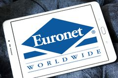 Euronet Worldwide financial services company logo. Logo of Euronet company on samsung tablet. Euronet Worldwide is a US provider of electronic payment services royalty free stock photography