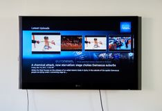 Euronews app στην οθόνη TV LG Στοκ φωτογραφία με δικαίωμα ελεύθερης χρήσης