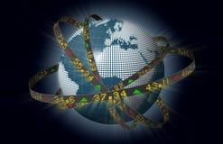 Europäer vermarktet Kugel mit umkreisenden Börsentelegrafen Lizenzfreie Stockfotografie