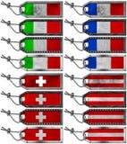 Europäische Flaggen eingestellt von den Schmutz-Metallmarken Stockfotografie