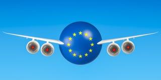 Europäische Fluglinien und Fliegen ` s, Flüge zu EU-Konzept 3d übertragen Stockbilder