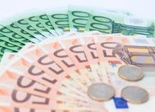 Europäische Geldbanknoten und -münzen Lizenzfreie Stockbilder