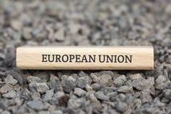 EUROPÄISCHE GEMEINSCHAFT - Bild mit den Wörtern verbunden mit dem Thema EUROPEAN_UNION, Wortwolke, Würfel, Buchstabe, Bild, Illus Lizenzfreie Stockfotografie