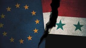 Europäische Gemeinschaft gegen Syrien-Flaggen auf gebrochener Wand Lizenzfreie Stockbilder