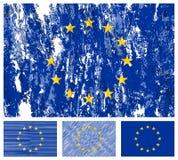 Europäische Gemeinschaft grunge Markierungsfahnenset Lizenzfreies Stockfoto
