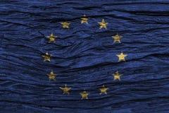 Europäische Gemeinschaft u. x28; EU u. x29; Flagge mit hohem Detail des alten hölzernen Hintergrundes Abbildung 3D Stockfoto