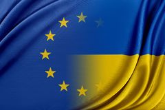 Europäische Gemeinschaft und Ukraine Das Konzept des Verhältnisses zwischen EU und Ukraine Stockfoto