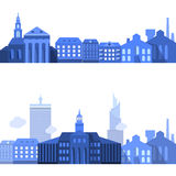 Europäische Landschaftslinien mit flachen Stadt-Elementen Stockfotografie