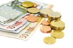 Europäische Münzen und Rechnungen Lizenzfreies Stockfoto