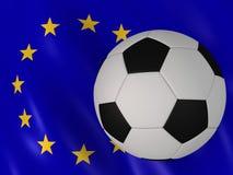 Europäische Markierungsfahne und Fußball lizenzfreie abbildung