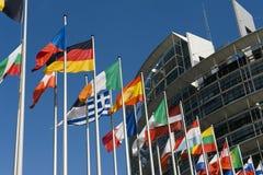 Europäische Markierungsfahnen Stockbild