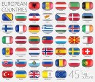 Europäische Markierungsfahnen Knöpft Ikonen Lizenzfreie Stockfotos