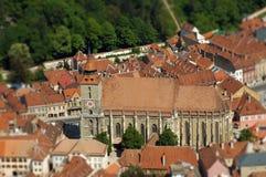 Europäische mittelalterliche Stadtansicht Miniaturneigungsschiebelinseneffekt Lizenzfreies Stockbild