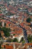 Europäische mittelalterliche Stadtansicht Miniaturneigungsschiebelinseneffekt Stockbild
