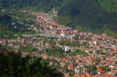 Europäische mittelalterliche Stadtansicht Miniaturneigungsschiebelinseneffekt Stockfoto