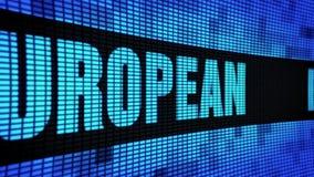 EUROPÄISCHE Seite simsen das In einer Liste verzeichnen des LED-Wand-Anzeigetafel-Zeichen-Brettes stock footage