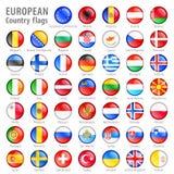 Europäische Staatsflagge-Knöpfe eingestellt Stockfotografie