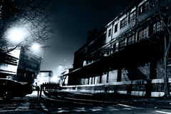 Europäische Straße nachts Stockfoto