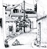 Europäische Straße skizze lizenzfreie abbildung