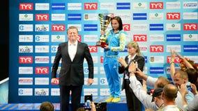 Europäische Tauchmeisterschafts2017 Siegerzeremonie, Kiew, Ukraine, stock video