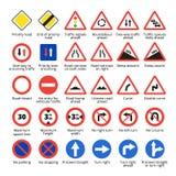 Europäische Verkehrszeichen Vektorstraßen-Ikonensammlung Lizenzfreie Abbildung