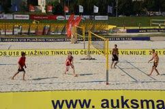 Europäische Volleyballmeisterschaft des Strandes U18. Stockfoto