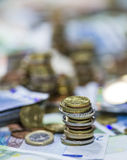 Europäische Währung (Banknoten und Münzen) Stockbilder