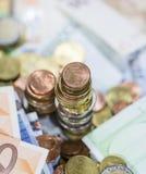 Europäische Währung (Banknoten und Münzen) Stockfoto