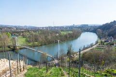 Europäischer Fluss Max Eyth See Stuttgart Vineyards Sunny Landscape lizenzfreies stockbild