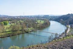 Europäischer Fluss Max Eyth See Stuttgart Vineyards Sunny Landscape lizenzfreies stockfoto