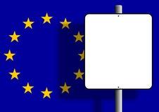 Europäischer Markierungsfahnenzeichenpfosten Lizenzfreie Stockfotos