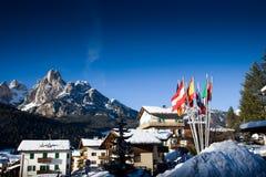 Europäischer Skiort Lizenzfreies Stockfoto
