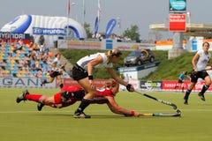 Europäisches Cup Deutschland 2011 Deutschland-V Belgium.Hockey Stockfotografie