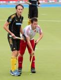 Europäisches Cup Deutschland 2011 England-V Belgium.Hockey Lizenzfreie Stockfotografie