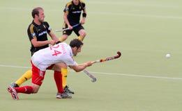 Europäisches Cup Deutschland 2011 England-V Belgium.Hockey Stockbilder