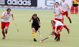 Europäisches Cup Deutschland 2011 England-V Belgium.Hockey Stockfotos