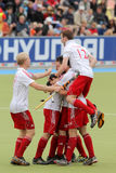 Europäisches Cup Deutschland 2011 England-V Belgium.Hockey Lizenzfreie Stockbilder