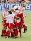 Europäisches Cup Deutschland 2011 England-V Belgium.Hockey Stockfoto