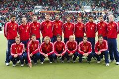 Europäisches Cup Deutschland 2011 England-V Belgium.Hockey Stockbild