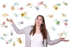Europäisches Geld, das vom Himmel fällt lizenzfreies stockfoto