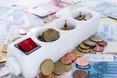 Europäisches Geld Energiekonzept Stockfotos