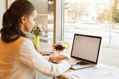 Europäisches Mädchen mit Pferdeschwanz schreibt auf Laptop im Tageslicht stockfotografie