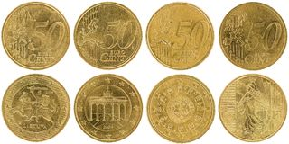 Européen 50 pièces de monnaie avant et dos de cent d'isolement sur le backgr blanc Images libres de droits