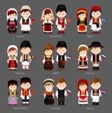 Européens dans la robe nationale illustration de vecteur