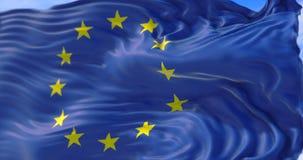 EuropéEU sjunker, euroflaggan med polen, flaggan av europeisk union som vinkar, gul stjärna på blå bakgrund med blå himmel med mo